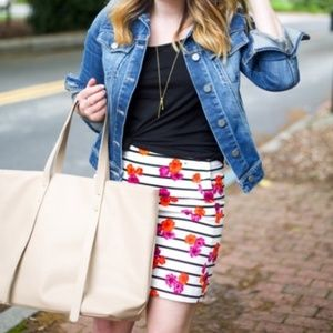J. Crew floral stripe mini-skirt sz4